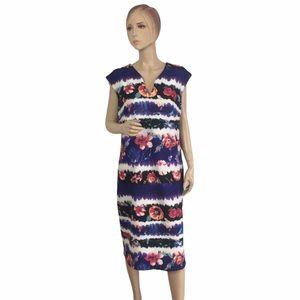 Beige by eci Floral Striped Stretch Dress Plus 1X